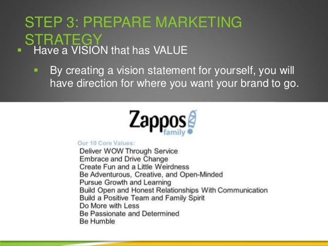 STEP 3: PREPARE MARKETING STRATEGY  Have a VISION that has VALUE  By creating a vision statement for yourself, you will ...