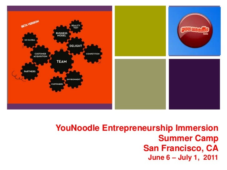 YouNoodleEntrepreneurshipImmersionSummer CampSan Francisco, CAJune 6 – July 1,  2011<br />