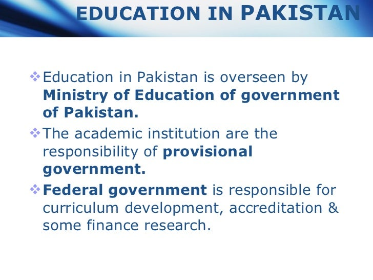 Education System Of Pakistan