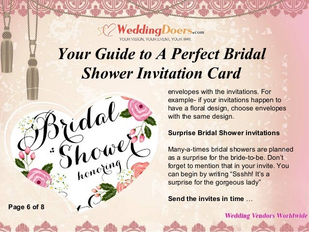 Surprise Bridal Shower Invitations Photo Album Weddings Pro – Examples of Wedding Shower Invitations