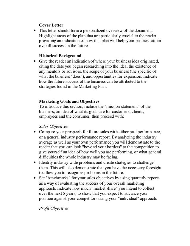 Marketing Plan Cover Letter  Best Market