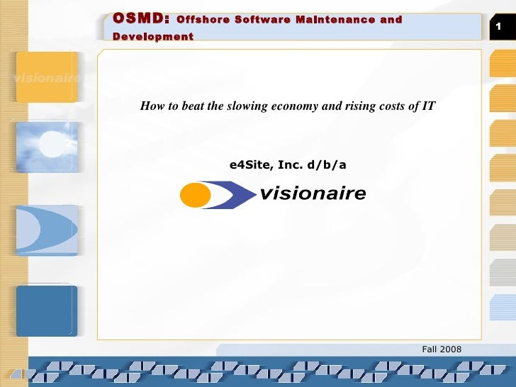 OSMD:  Offshore Software Maintenance and Development   How to beat the slowing economy and rising costs of IT e4Site, Inc....