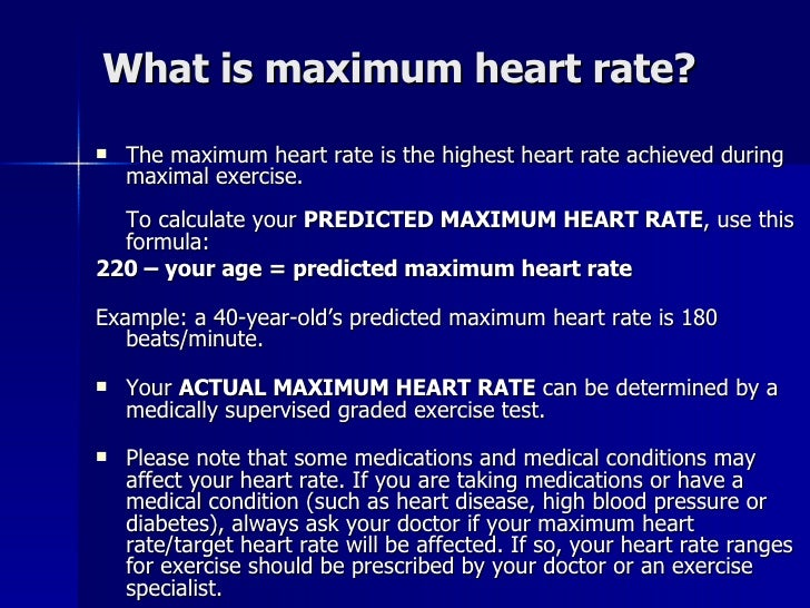 what is the formula to calculate maximum heart rate