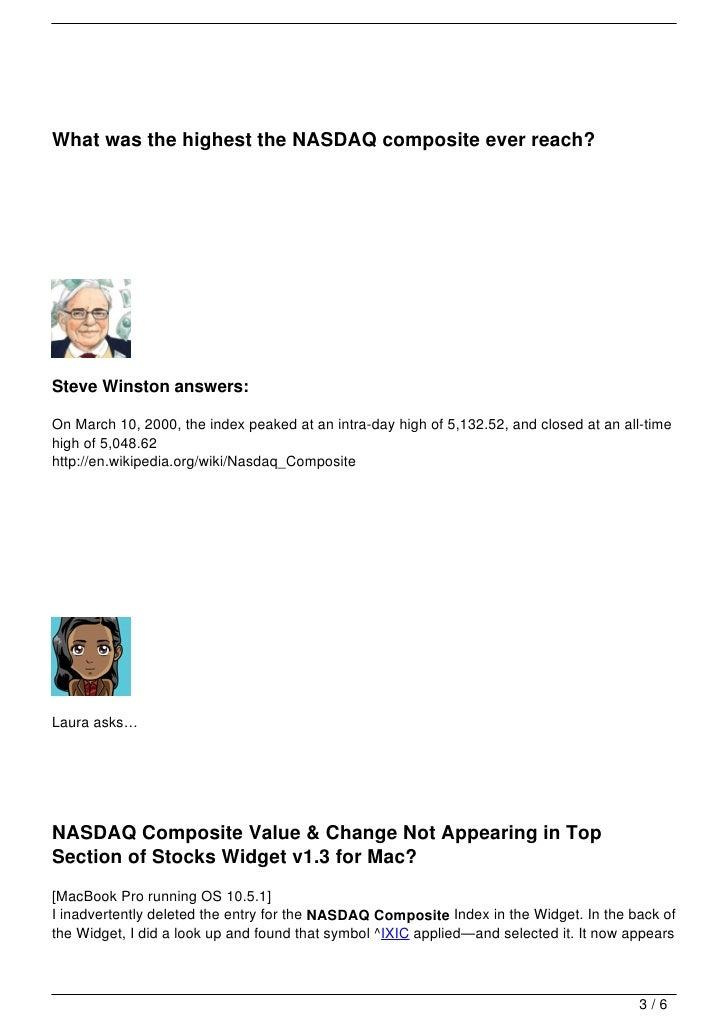 Your Questions About Nasdaq Composite
