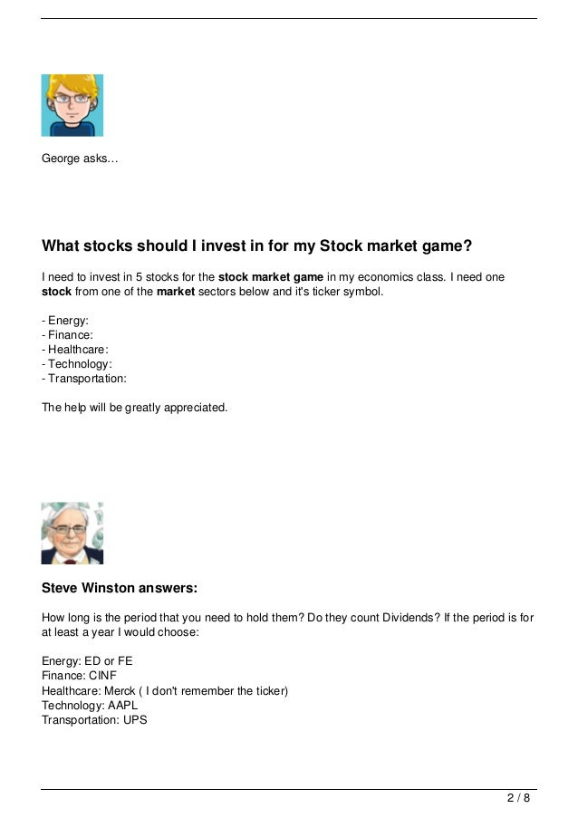 Your Questions About Stock Market Game