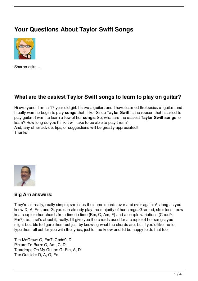 Your Questions About Taylor Swift Songs