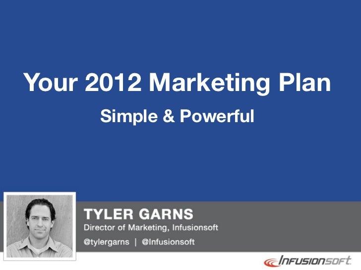 Your 2012 Marketing Plan              Simple & Powerful@tylergarns