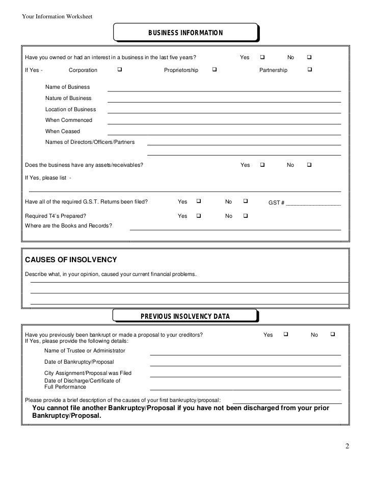 Your Debtor Information Worksheet – Insolvency Worksheet