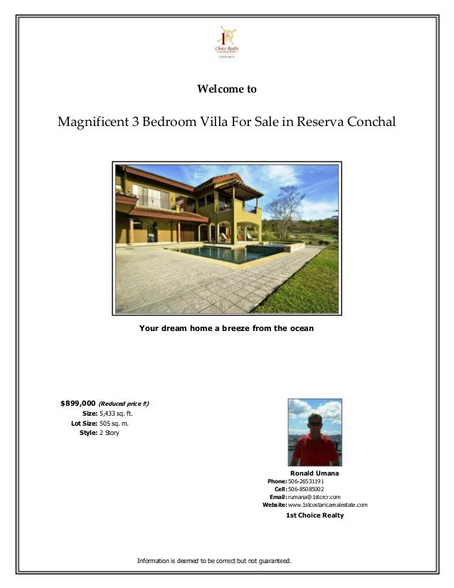 Welcome toMagnificent 3 Bedroom Villa For Sale in Reserva Conchal                             Your dream home a breeze fro...