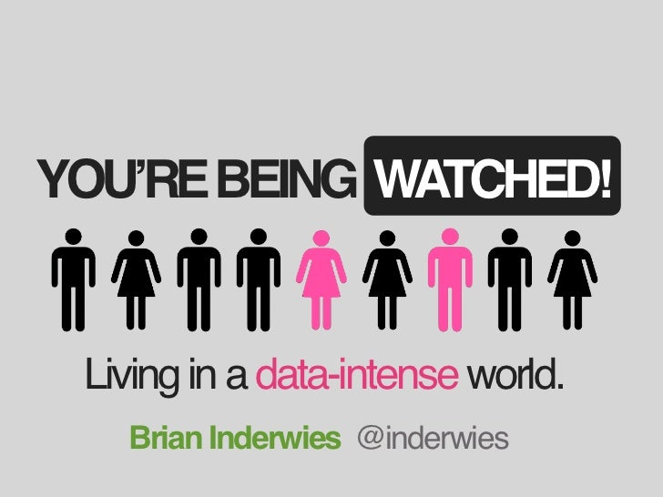 YOU'RE BEING WATCHED! Living in a data-intense world.   Brian Inderwies @inderwies