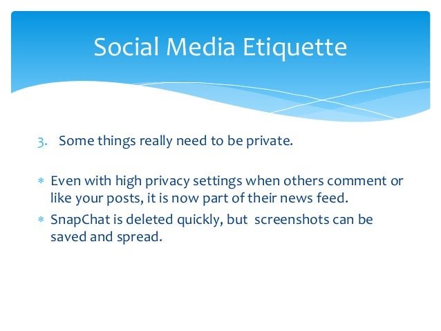 Social media edicate