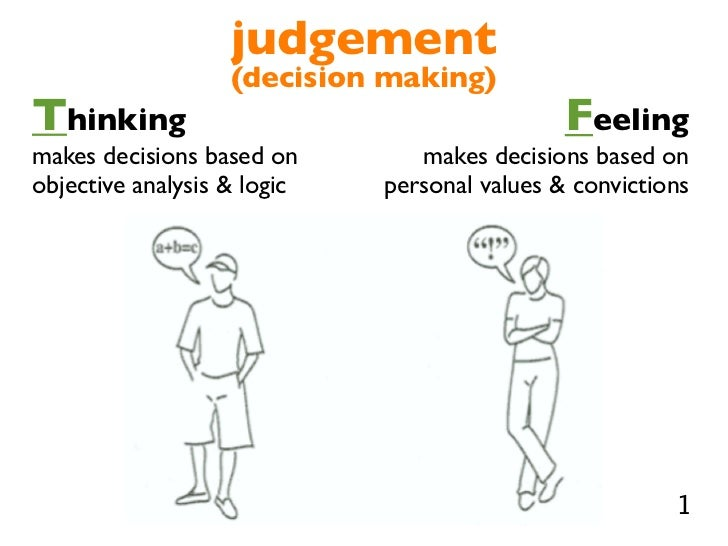 test part 2 thinking and feeling Everyone uses thinking for some decisions and feeling for others in fact, a person can make a decision using his or her preference, then test the decision by using the other preference to see what might not have been taken into account.