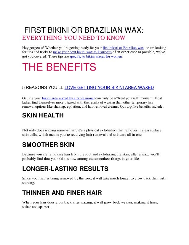 Your First Bikini Or Brazilian Wax Miracle Salon Bikini