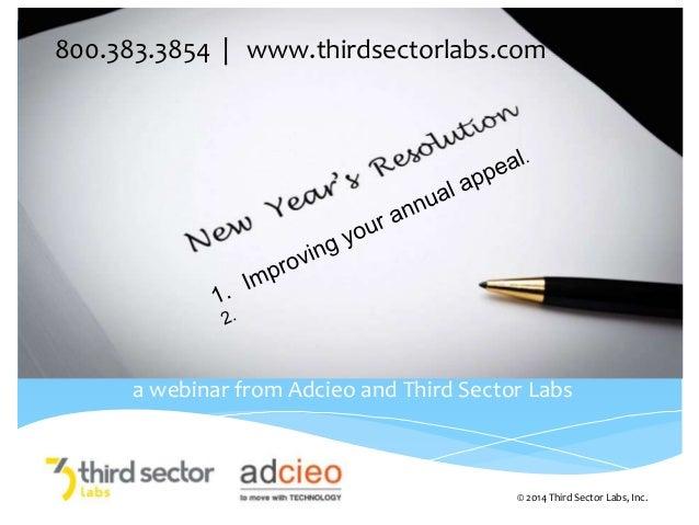 800.383.3854   www.thirdsectorlabs.com  a webinar from Adcieo and Third Sector Labs  © 2014 Third Sector Labs, Inc.