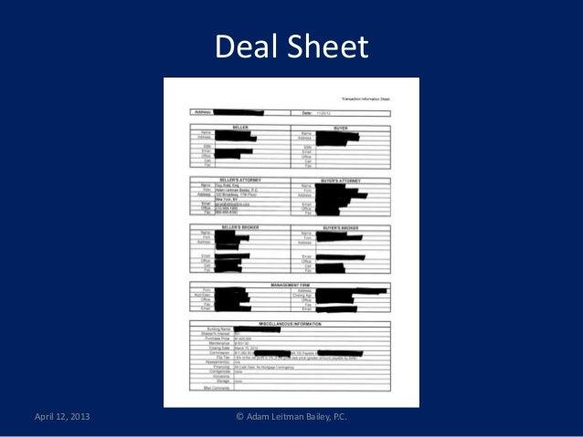 Real Estate Deal Sheet