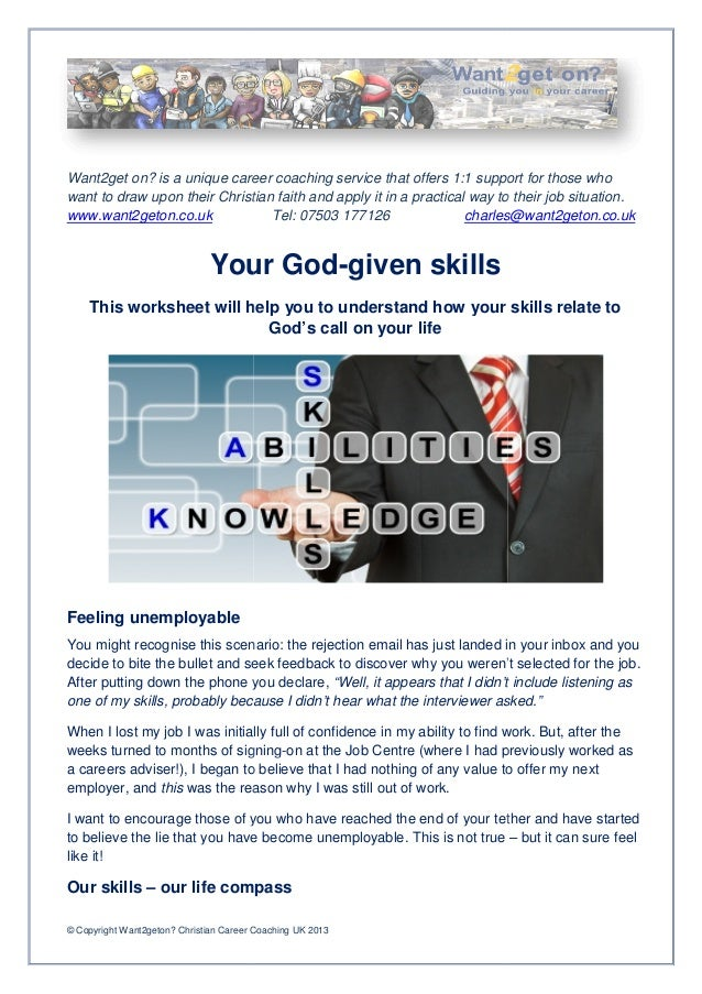 Want2get on? is a unique career coaching service that offers 1:1 support for those whowant to draw upon their Christian fa...