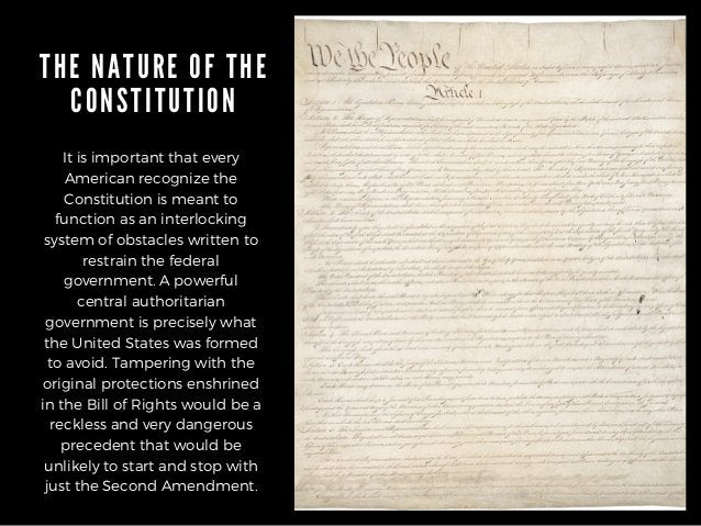 THE NATURE OF THE CONSTITUTION It is important that every American recognize the Constitution is meant to function as an i...