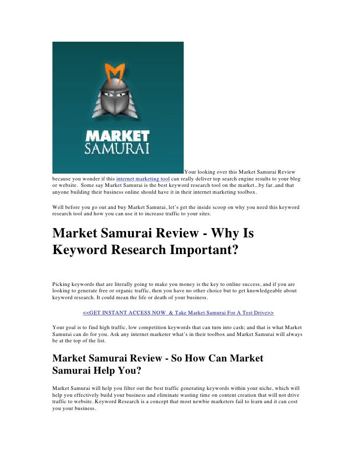 Your looking over this Market Samurai Reviewbecause you wonder if this internet marketing tool can really deliver top sear...