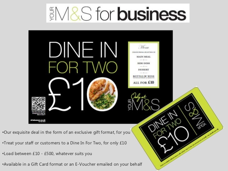 •Our exquisite deal in the form of an exclusive gift format, for you•Treat your staff or customers to a Dine In For Two, f...