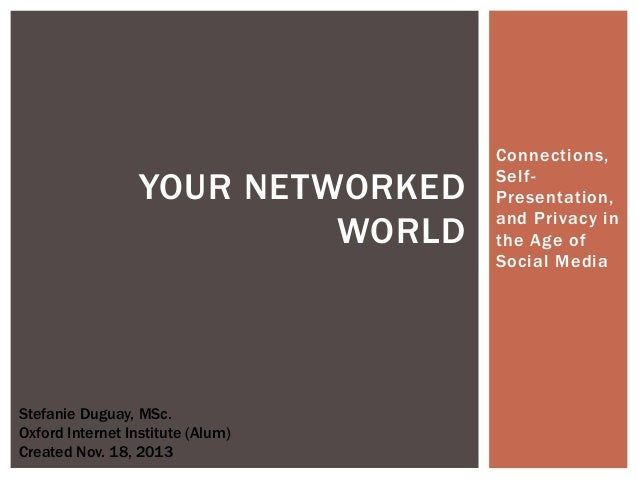 YOUR NETWORKED WORLD  Stefanie Duguay, MSc. Oxford Internet Institute (Alum) Created Nov. 18, 2013  Connections, SelfPrese...