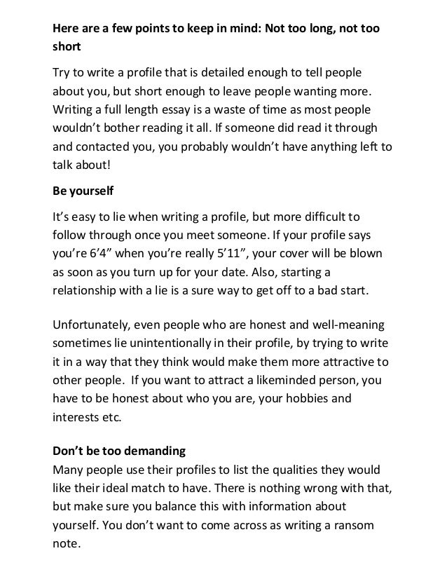 How To Write A Dating Site Profile