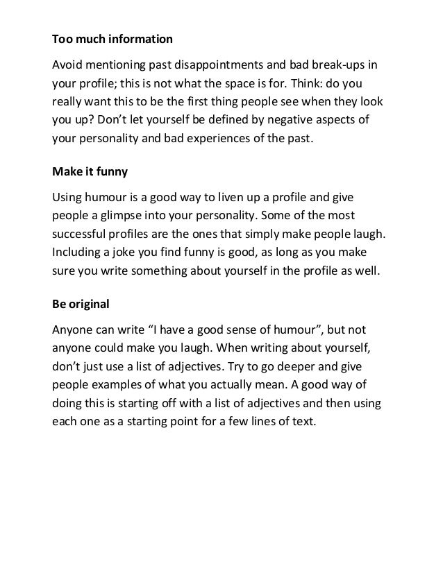 Adjectives to use in dating profile
