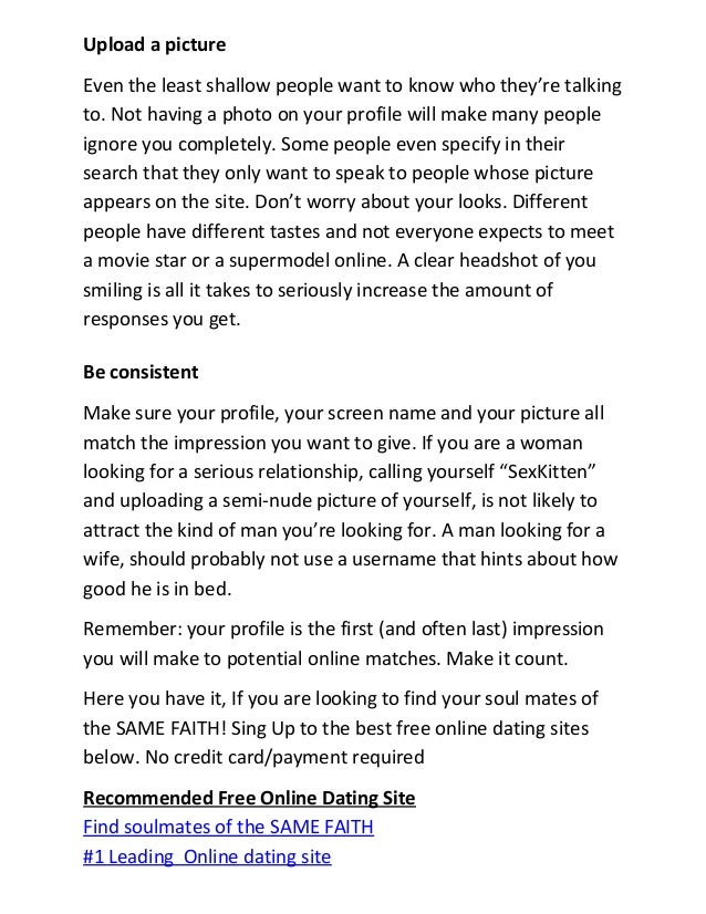 how to create a good dating site profile