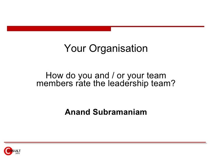 Your Organisation How do you and / or your team members rate the leadership team? Anand Subramaniam