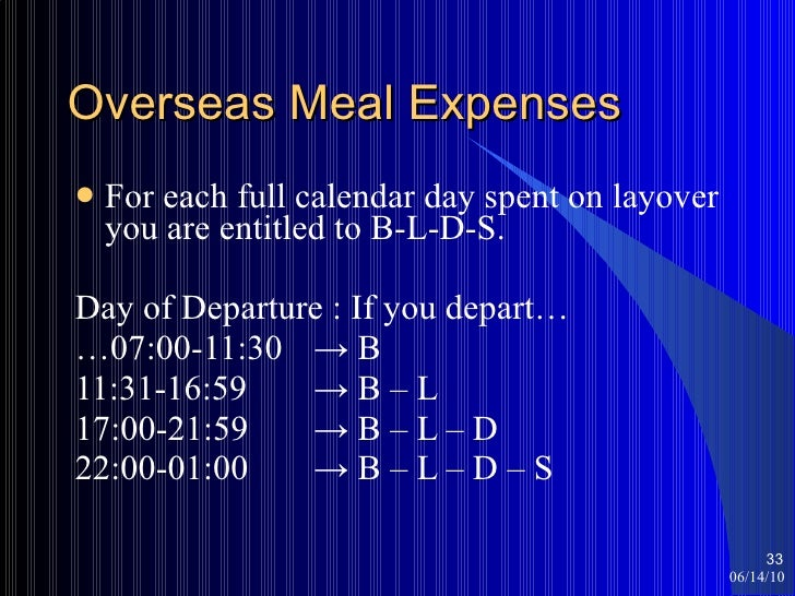 Overseas Meal Expenses <ul><li>For each full calendar day spent on layover you are entitled to B-L-D-S. </li></ul><ul><li>...