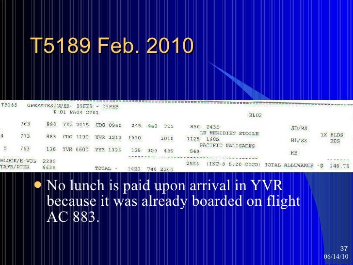 T5189 Feb. 2010 <ul><li>No lunch is paid upon arrival in YVR because it was already boarded on flight AC 883. </li></ul>06...