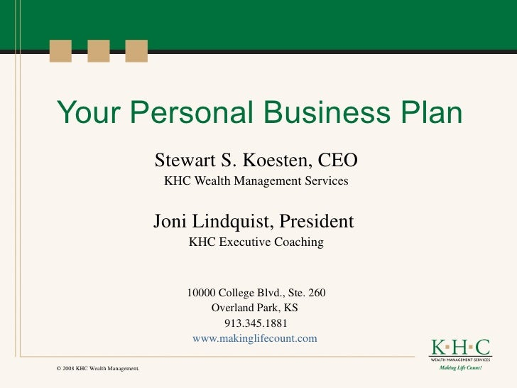 Your Personal Business Plan - Personal business plan template