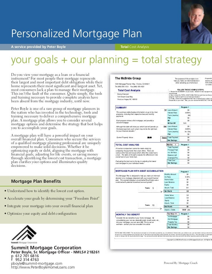 Personalized Mortgage Plan    A service provided by Peter Boyle                                         Total Cost Analysi...