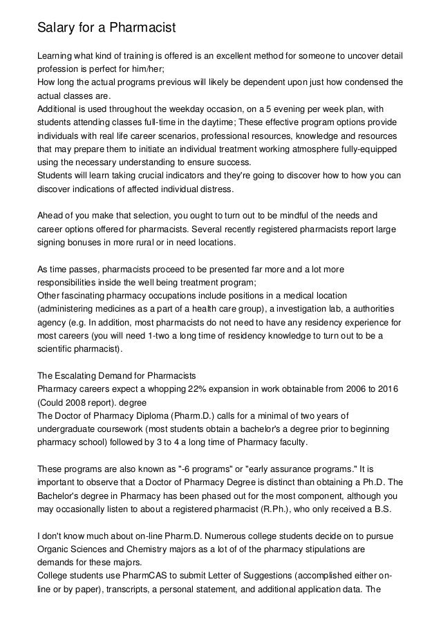 Salary for a Pharmacist Learning what kind of training is offered is an excellent method for someone to uncover detail pro...