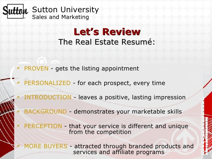 your real estate resume
