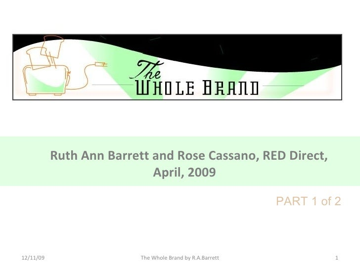 Ruth Ann Barrett and Rose Cassano, RED Direct, April, 2009   06/09/09 The Whole Brand by R.A.Barrett PART 1 of 2