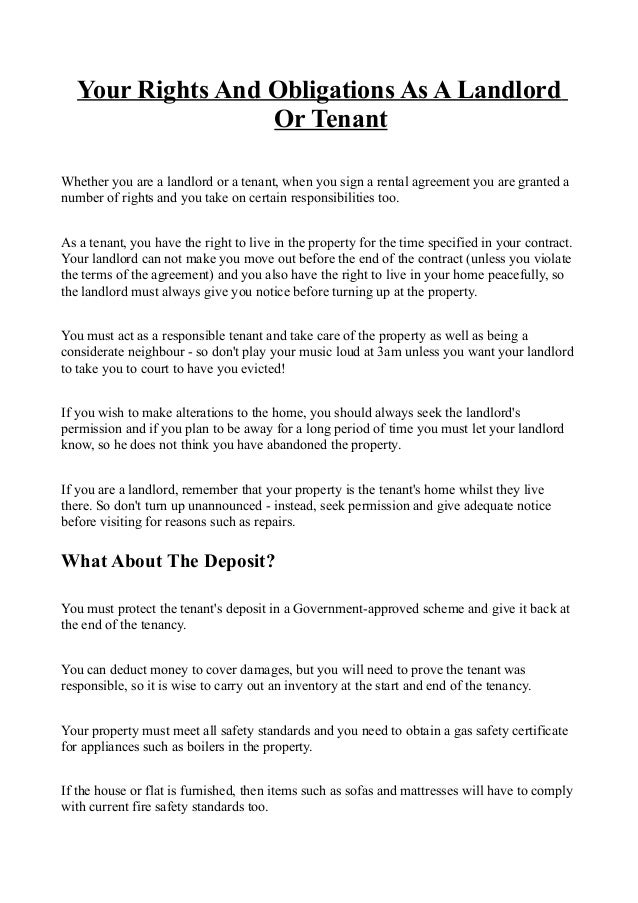 Your Rights And Obligations As A Landlord Or Tenant Kg