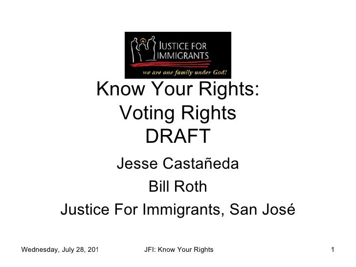 Know Your Rights: Voting Rights DRAFT Jesse Casta ñ eda Bill Roth Justice For Immigrants, San Jos é