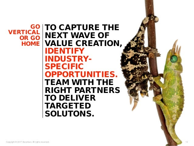 GO VERTICAL OR GO HOME Copyright © 2017 Accenture. All rights reserved. 13 TO CAPTURE THE NEXT WAVE OF VALUE CREATION, IDE...