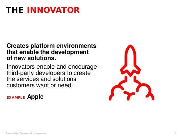 Creates platform environments that enable the development of new solutions. Innovators enable and encourage third-party de...