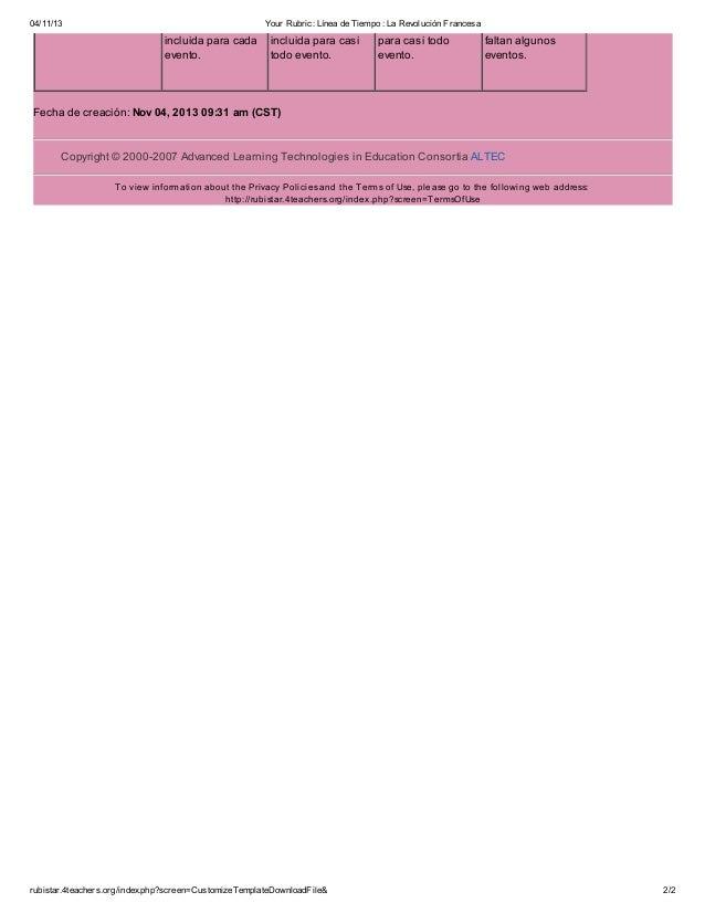 04/11/13  Your Rubric: Línea de Tiempo : La Revolución Francesa  incluida para cada evento.  incluida para casi todo event...