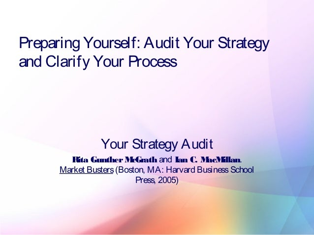 Preparing Yourself: Audit Your Strategy and Clarify Your Process Your Strategy Audit Rita GuntherMcGrath and Ian C. MacMil...