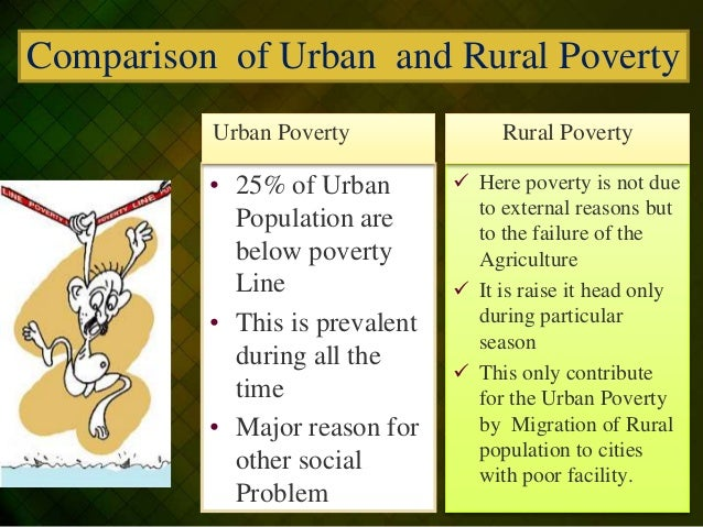 urban poverty vs rural poverty Rural poverty india's semi-arid tropical region houses large numbers of the country's poor this area faces a constant shortage of water and recurrent droughts.