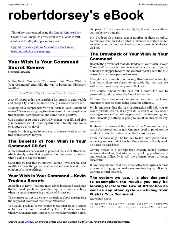 Your wish is your command secret review