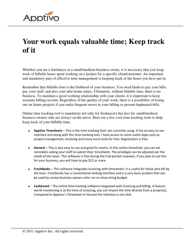 your work equals valuable time keep track of it