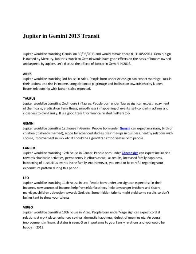 Jupiter in Gemini 2013 Transit