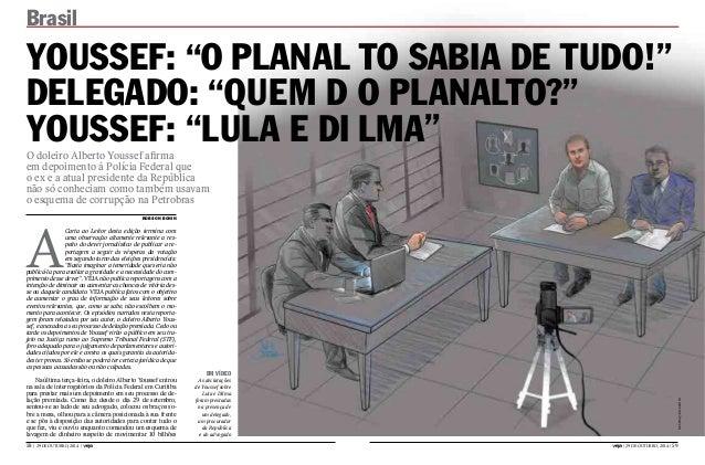 """Brasil  YOUSSEF: """"O PLANAL TO SABIA DE TUDO!""""  DELEGADO: """"QUEM D O PLANALTO?""""  YOUSSEF: """"LULA E DI LMA""""  2GROHLUR$OEHUWRRX..."""