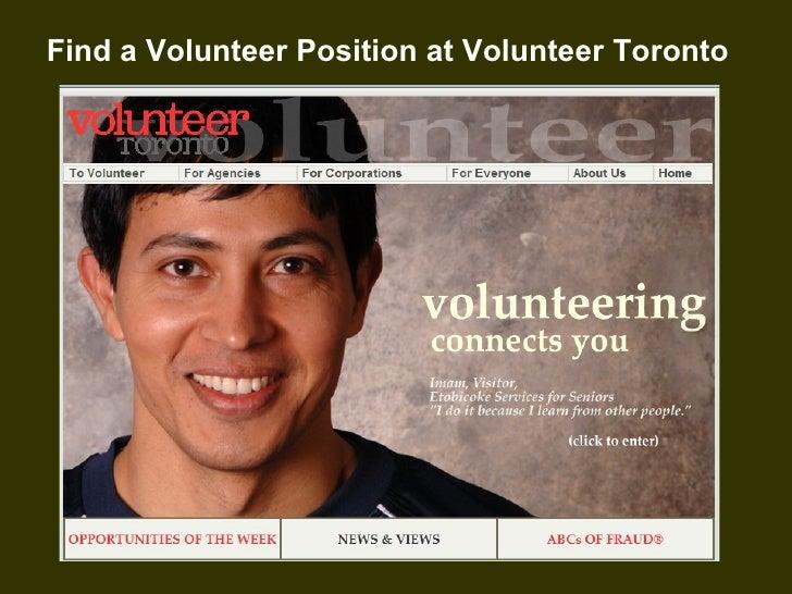 Find a Volunteer Position at Volunteer Toronto