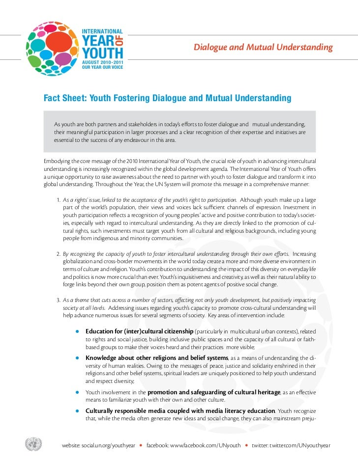 Dialogue and Mutual Understanding       Fact Sheet: Youth Fostering Dialogue and Mutual Understanding           As youth a...