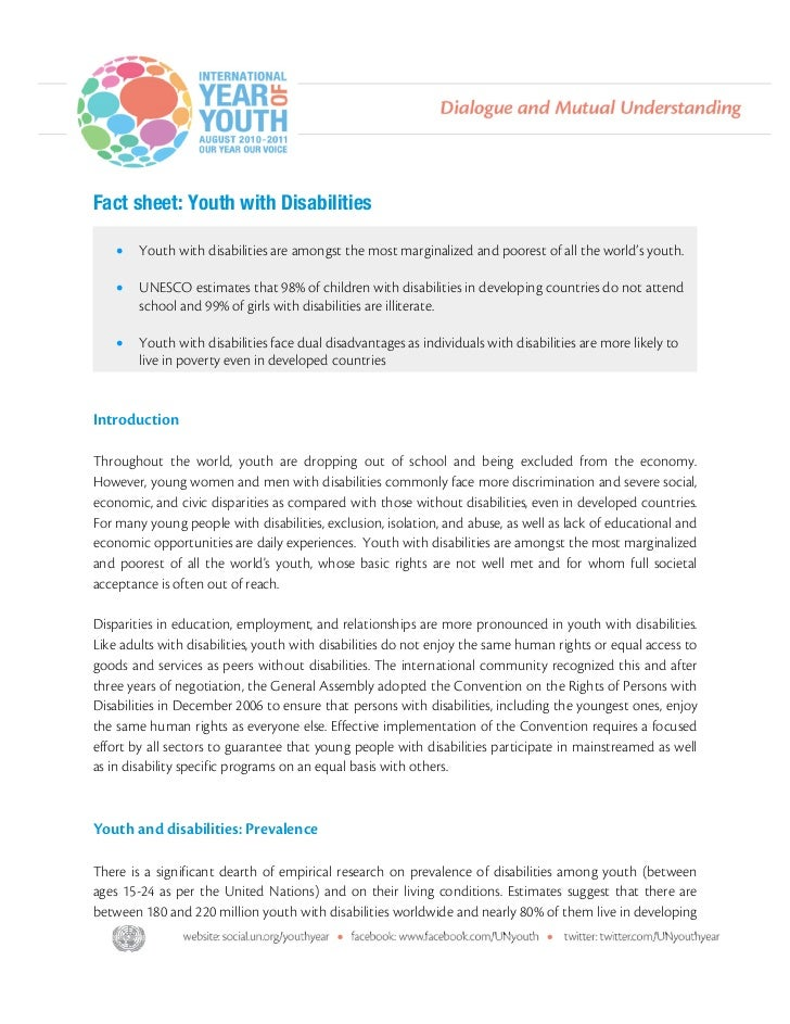 Fact sheet: Youth with Disabilities      •   Youth with disabilities are amongst the most marginalized and poorest of all...