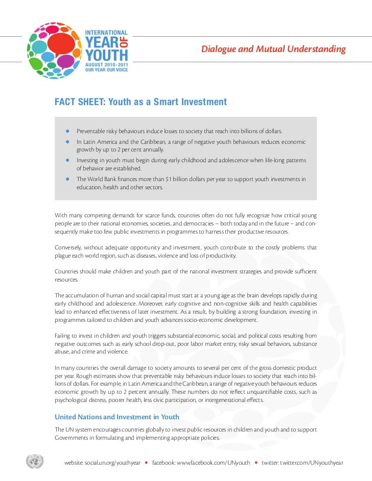 Dialogue and Mutual Understanding       FACT SHEET: Youth as a Smart Investment                Preventable risky behaviour...